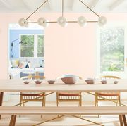 White, Dining room, Room, Furniture, Table, Interior design, Lighting, Chair, Chandelier, Home,