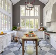 Countertop, White, Room, Furniture, Kitchen, Interior design, Property, Cabinetry, Floor, Home,
