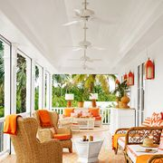 patio with ceiling fans