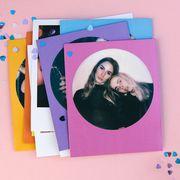 polaroid photos of friends with confetti