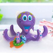 octopus ring toss bath toy with toddler