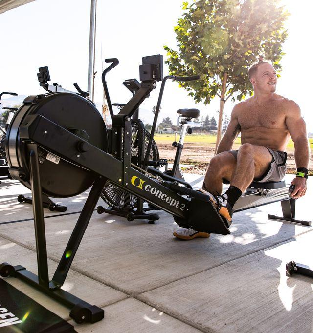 crossfit athlete noah ohlsen uses best rowing machine during crossfit games 2020 in aromas, california