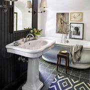 Bathroom, Room, Black, Interior design, Property, Tile, Sink, Floor, Plumbing fixture, Furniture,