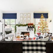 black and white christmas decorations in contemporary living room