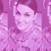pink tinted image of blaire in her army uniform