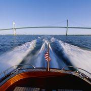 boat's stern and the newport bridge