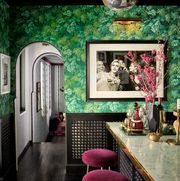 room, interior design, green, pink, furniture, wall, building, house, wallpaper, architecture,