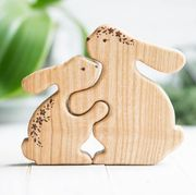wooden bunny puzzle and colorful bunny soaps