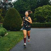carolyn su running and stretching along her regular routes outside of boston in september 2020