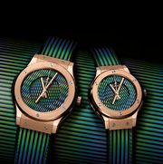 A watch designed by the late artist Carlos Cruz-Diez for the Swiss watchmaker Hublot.