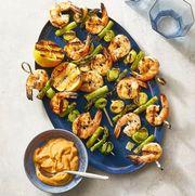 charred shrimp, leek and asparagus skewers