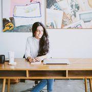 Table, Desk, Furniture, Design, Interior design, Sitting, Room, Textile, Art, Wood,
