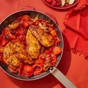 chicken with stewed peppers and tomatoes