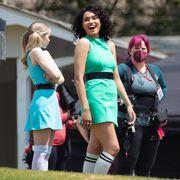 dove cameron, yana perrault, and chloe bennet as the powerpuff girls