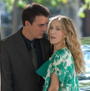 """sarah jessica parker and chris noth on location for """"sex and the city the movie""""   september 19, 2007"""