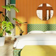 Green, Room, Yellow, Interior design, Furniture, Bedroom, Wall, Bed, Design, Bed frame,