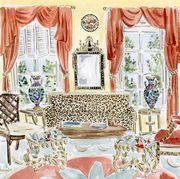 watercolor of antique interior