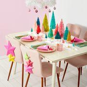 christmas dining table with washi tape shades, bottlebrush trees