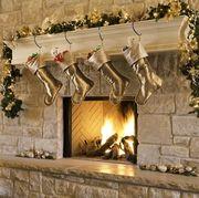 Christmas decoration, Christmas tree, Christmas, Christmas stocking, Tree, Property, Room, Christmas ornament, Home, Lighting,