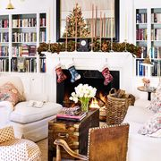 living room with fireplace decorated for christmas