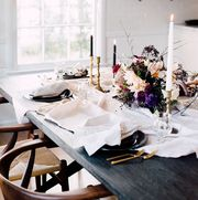 White, Room, Table, Furniture, Interior design, Dining room, Chair, Design, Flower, Home,