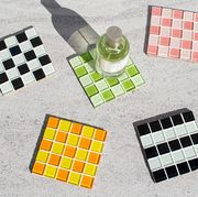 coasters in check tile pattern
