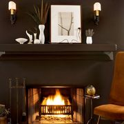 Room, Fireplace, Hearth, Interior design, Living room, Furniture, Home, Property, Table, Dining room,