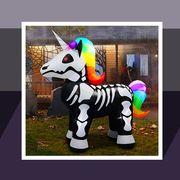 halloween pillow, pumpkin decorations, inflatable unicorn skeleton