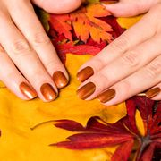 Cropped Hands Of Woman With Nail Polish On Dry Leaves