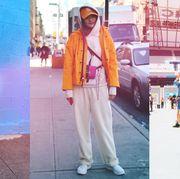 Street fashion, Clothing, Orange, Fashion, Pink, Snapshot, Footwear, Outerwear, Shoe, Jacket,