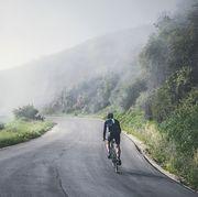 cyclist on the gibraltar road climb