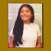Yellow, Sleeve, Photograph, Neck, Rectangle, Long hair, Portrait,