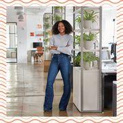 Jeans, Standing, Door, Denim, Window, Room, Architecture, Home, Interior design, House,