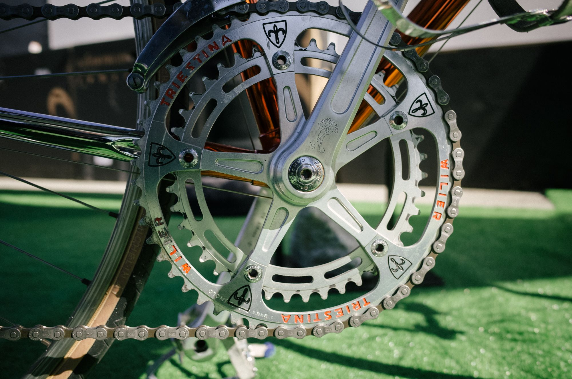 Unfortunately, Campy has no plans to start making cranksets this pretty again. But it's fun to look at.