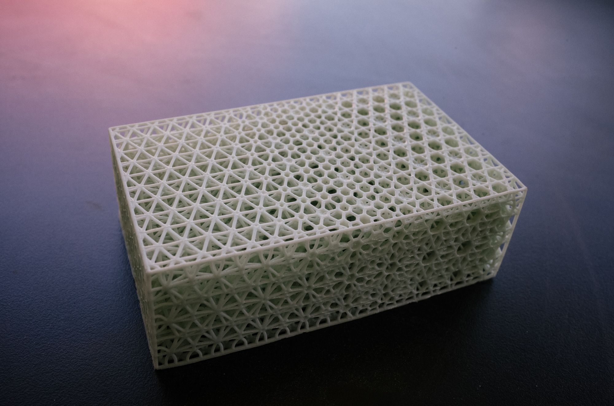 The process allows to precisely vary levels of density (or how squishy it is) within a single printed piece.