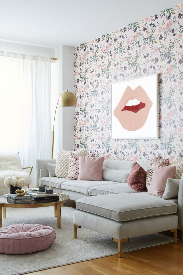 Living room, Room, Furniture, Interior design, Wallpaper, Pink, Property, Wall, Floor, Table,