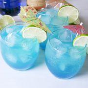 Blue lagoon, Blue hawaii, Drink, Hpnotiq, Cocktail, Non-alcoholic beverage, Alcoholic beverage, Cocktail garnish, Italian soda, Lemonade,