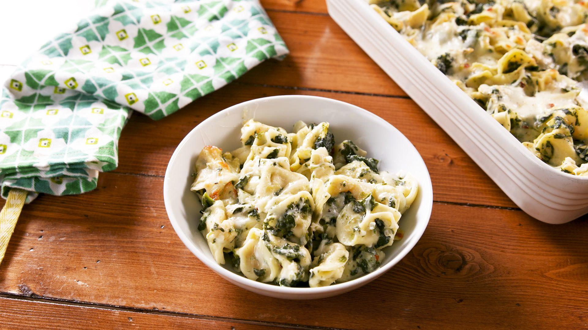 Spinach Artichoke Baked Tortellini