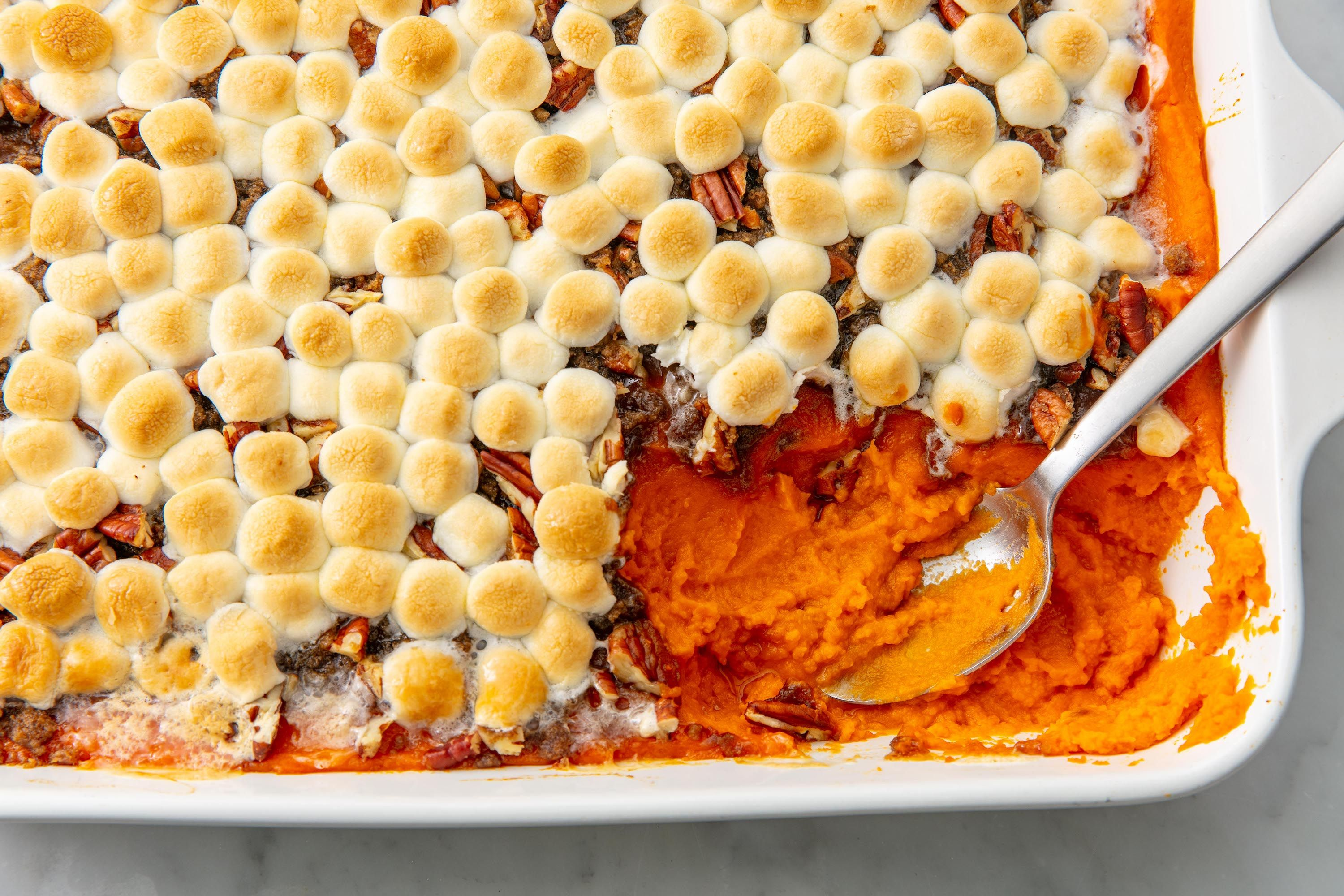 Sweet Potato Casserole With Marshmallows And Pecans Recipe