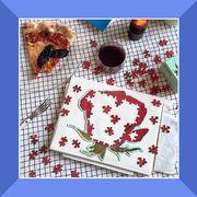 rose puzzle, ice cream cake