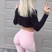 Clothing, Waist, Sportswear, Active pants, Crop top, Pink, Abdomen, yoga pant, Hip, Leg,