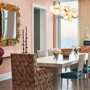 dining room with peach walls