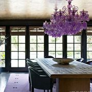Room, Interior design, Dining room, Property, Furniture, Building, Purple, House, Table, Ceiling,