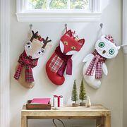diy christmas stockings woodland creatures  tan deer, orange fox, white owl stocking
