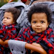 twins in double stroller