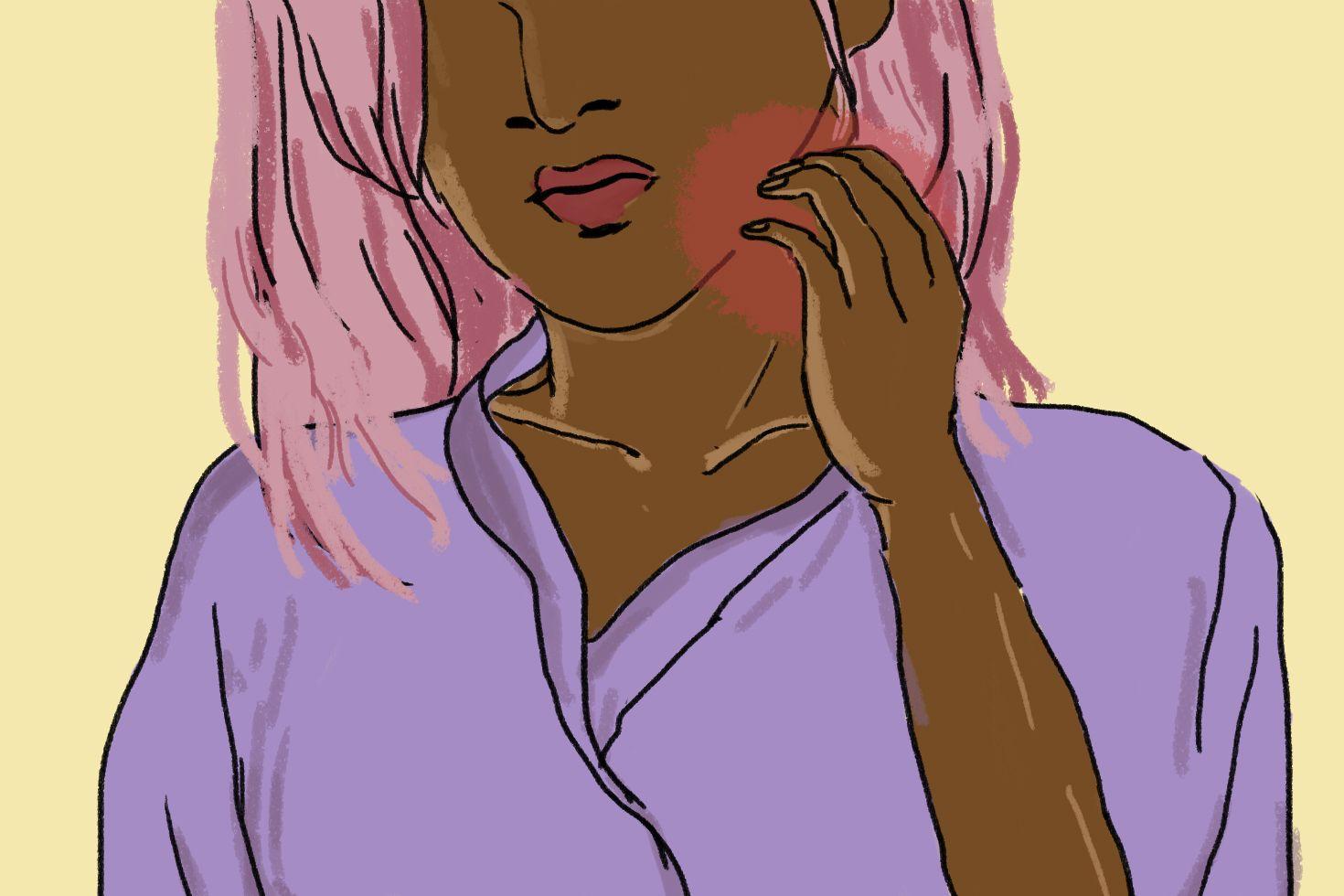 Woman Scratching Neck - Eczema Illustration