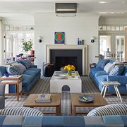 mark cunningham living room with blue sofas