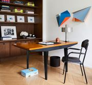 Furniture, Room, Desk, Table, Interior design, Computer desk, Office, Building, Office chair, Chair,