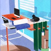 drawing of desk with computer and cat