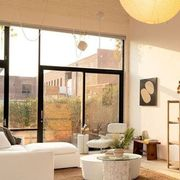 soft lit living room with terrace